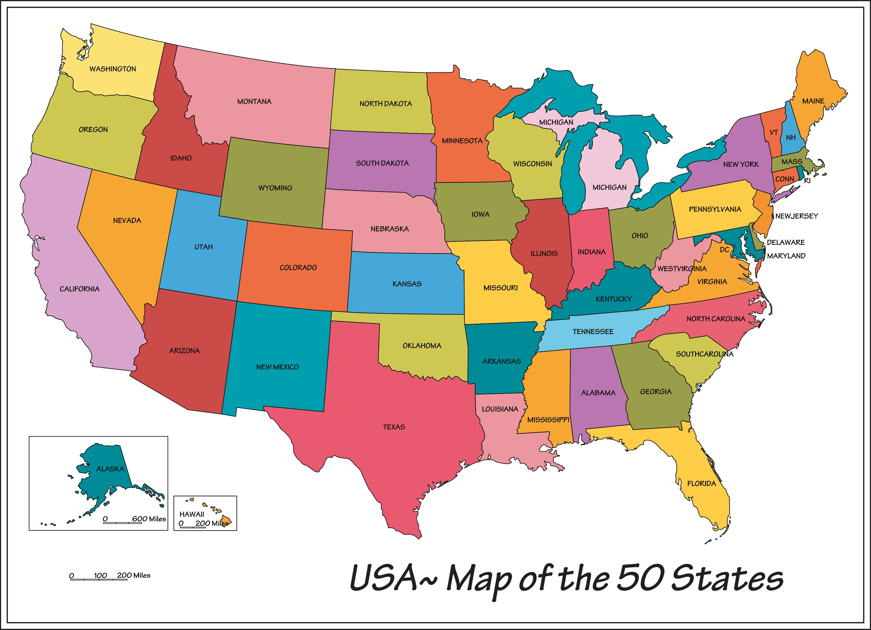 Us Map Names Of States Globalinterco - Us state map with dc