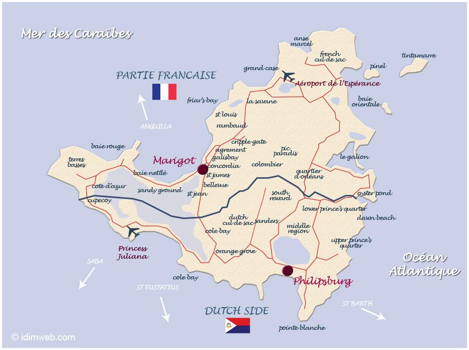 ile st martin carte L'île Saint Martin : informations pratiques