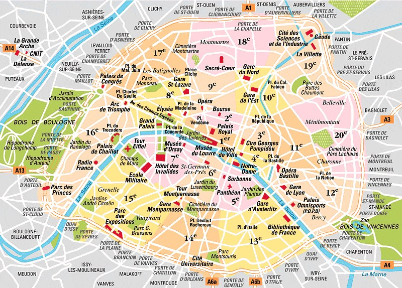 carte de paris et banlieue PLAN DE PARIS INTERACTIF