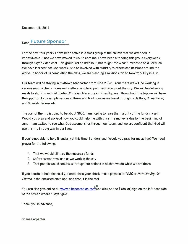 Shanes Mission Trip Sponsor Letter