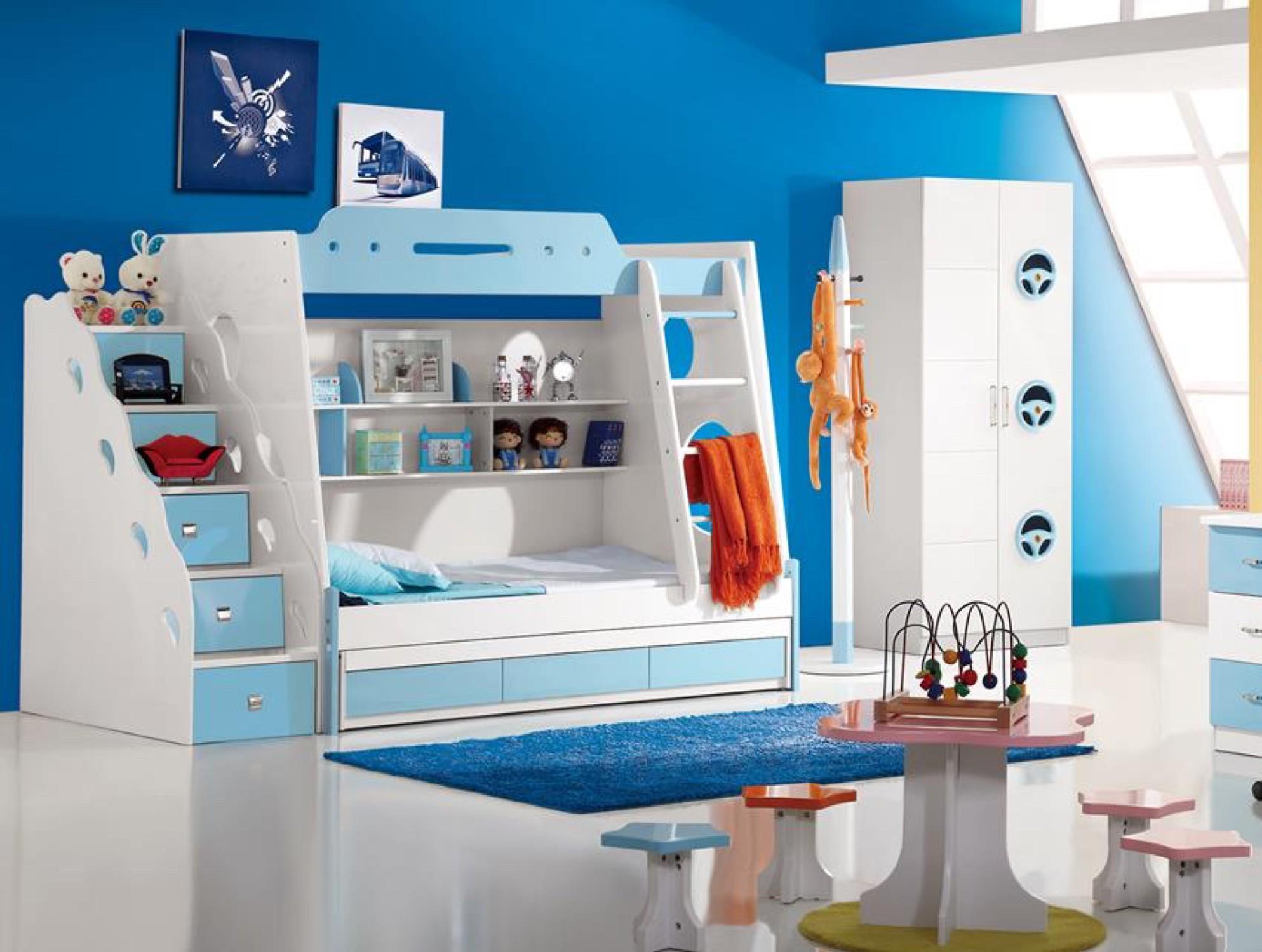 Kinderzimmer Mit Etagenbett : Etagenbett kinderzimmer in weiß blau lackiert inklusive mit treppe
