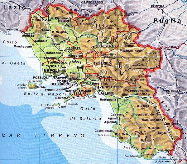 Cartina Fiumi Campania.La Campania