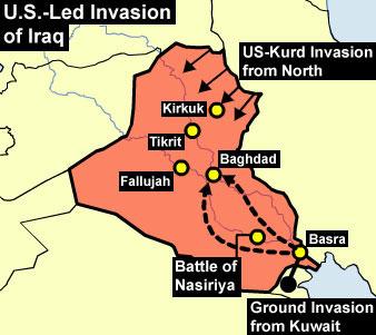 Iraq War ThingLink - Map showing us and iraq