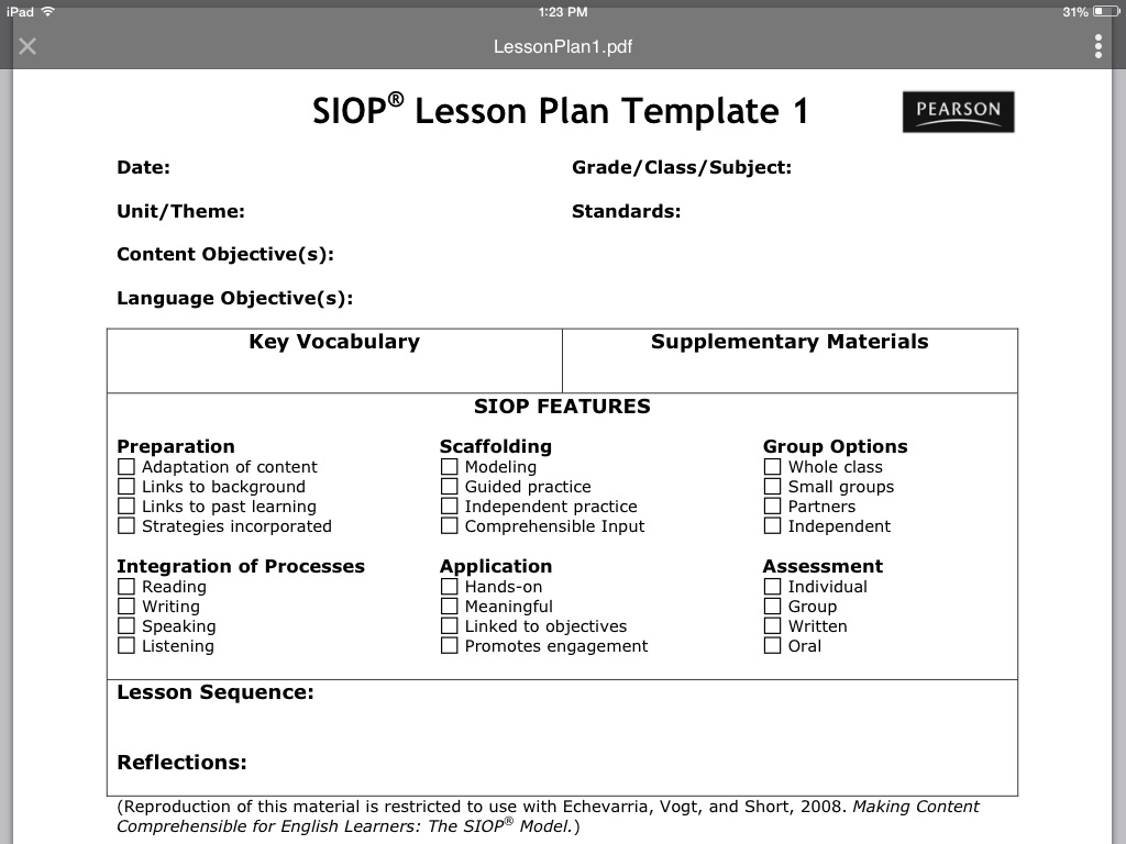 SIOP Lesson Plan Template 1 - ThingLink