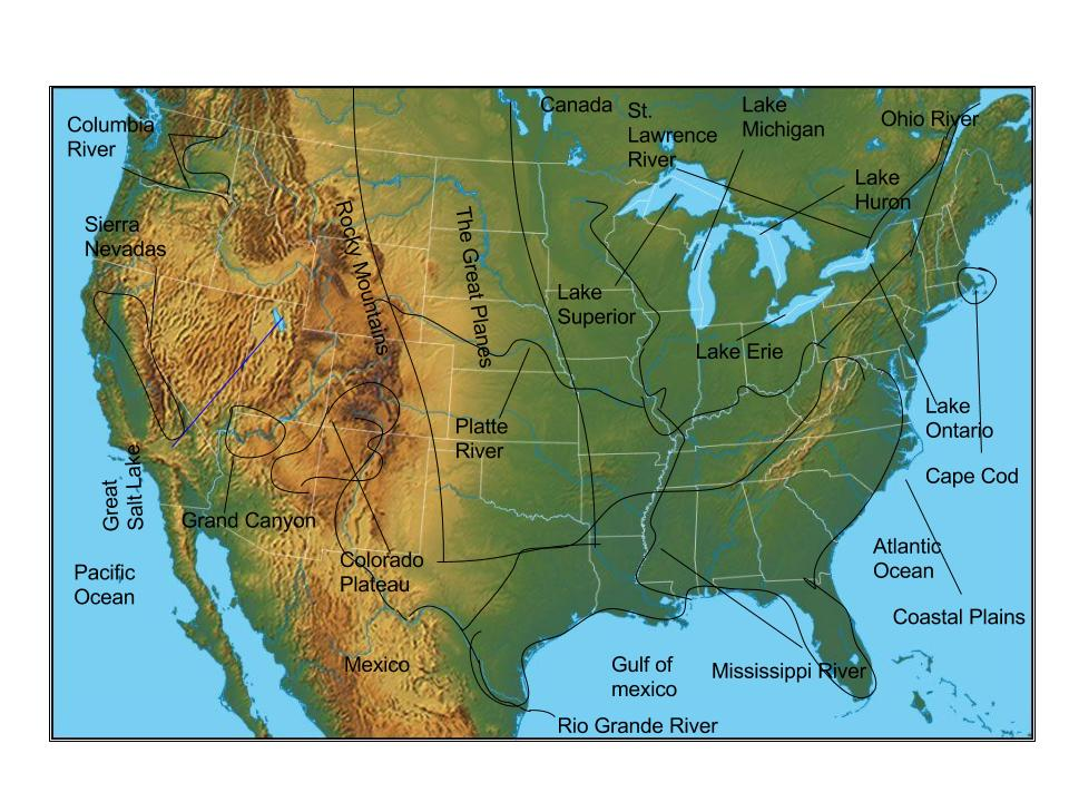 Kelsey USA Physical Features ThingLink - Usa map with physical features