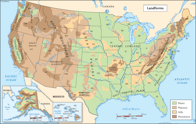 Physical Map Of The United States Of America United States - Us map with rivers