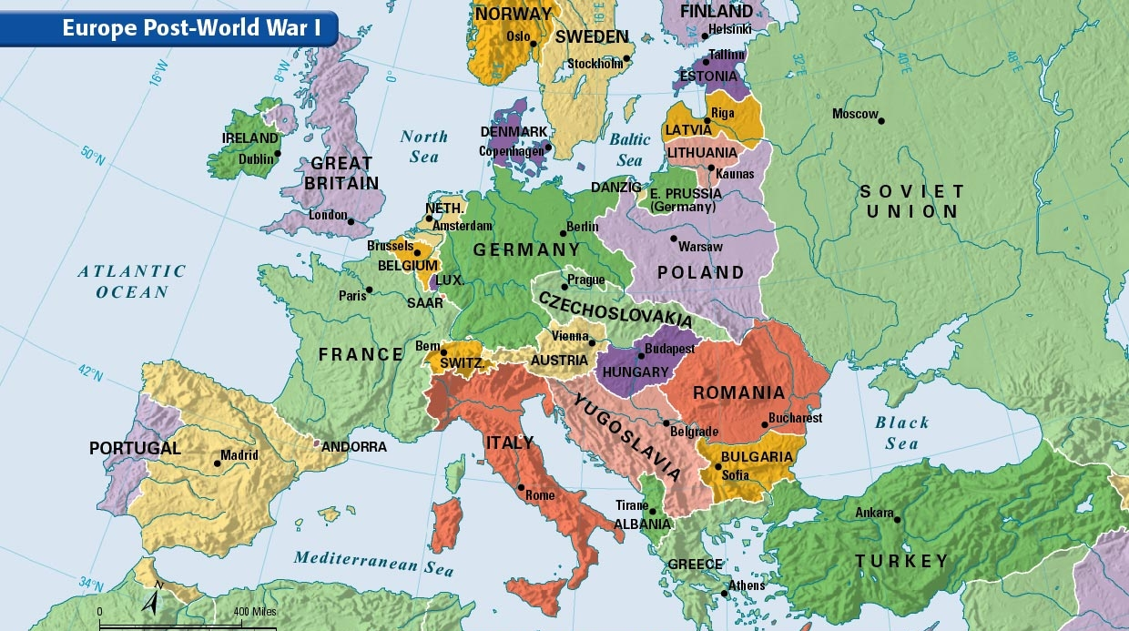 Post World War 1 Europe Map