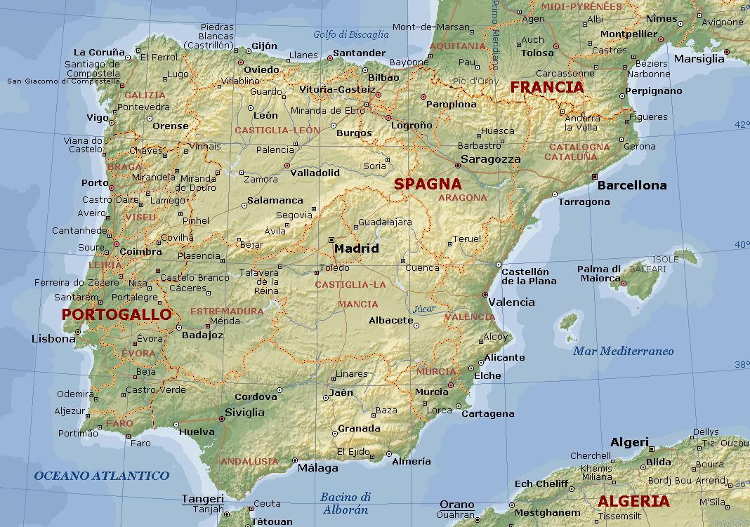 Cartina Geografica Spagna E Formentera.I Pirenei La Grande Catena Montuosa Settentrionale Che D