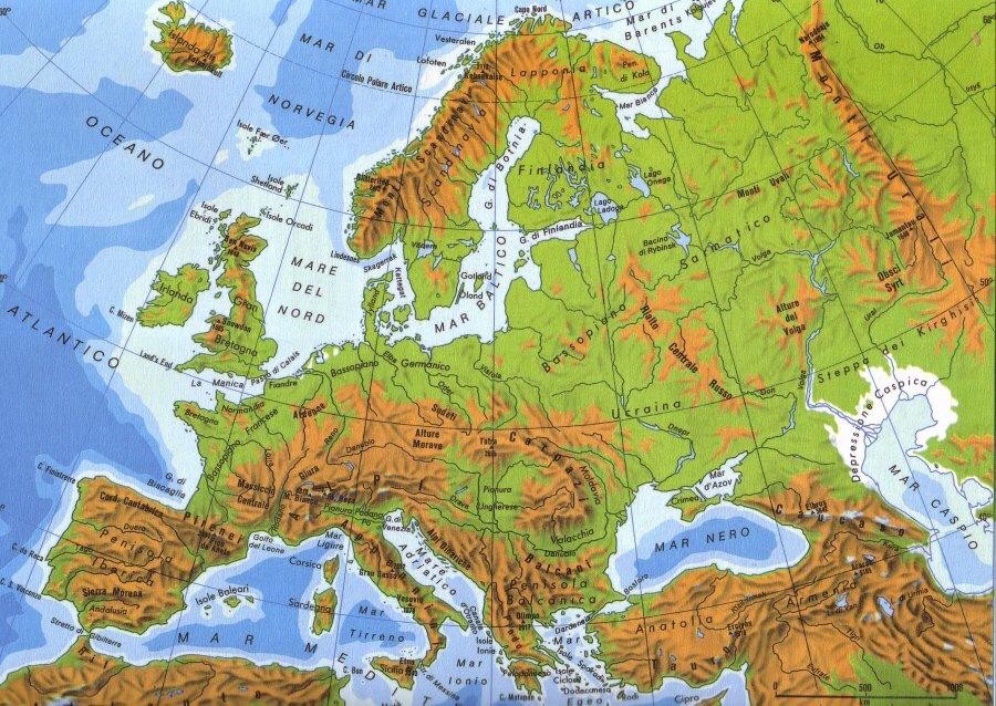 Cartina Russia Europea Fisica.Cartina Fisica Del Europa Catene Principali Pezzo Jennifer