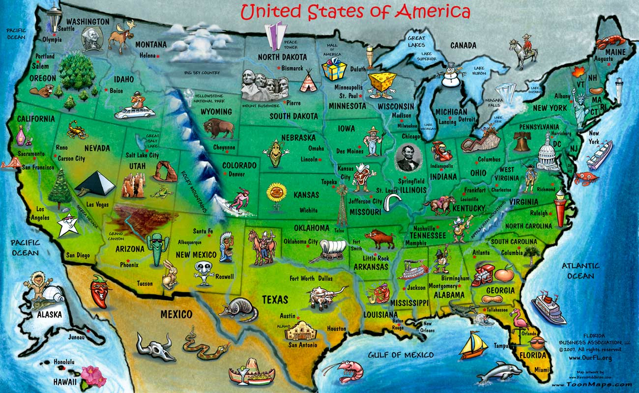 Major Us Landmarks Map - Us map with tourist attractions