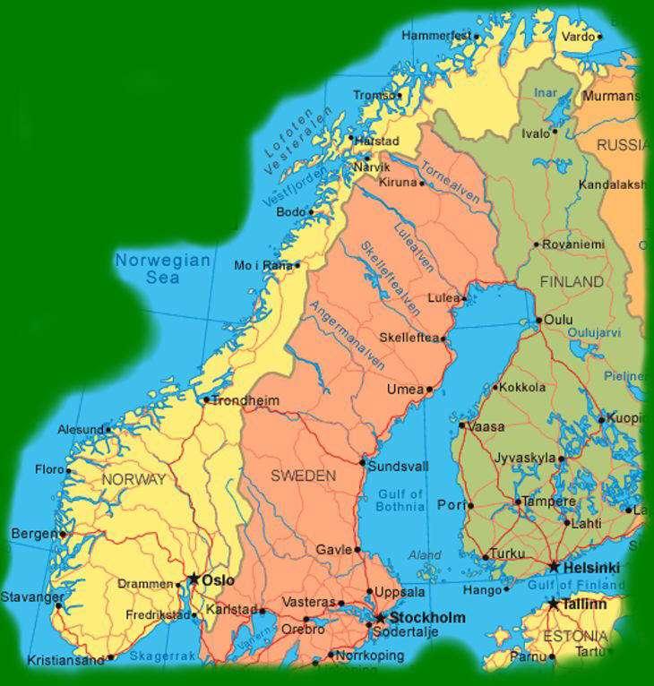 Cartina Norvegia Stradale.Norvegia