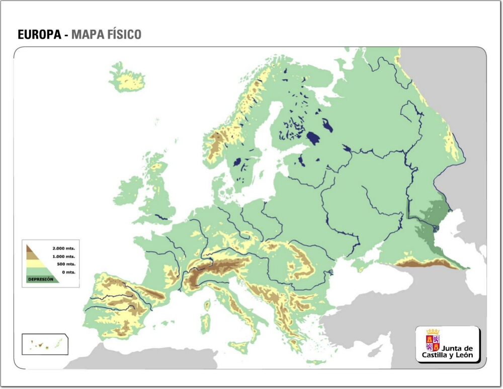 Mapa Fisic D Europa Rius.Serralades I Rius D Europa