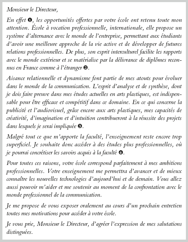 Ecole De Communication Lettre De Motivation