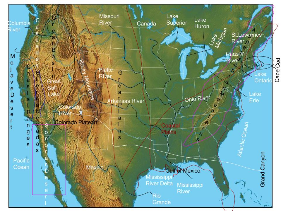 Neve Wade Us physical Features Map