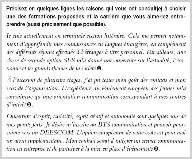 Candidature à Un Bts Communication