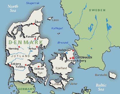 This is a map of Denmark