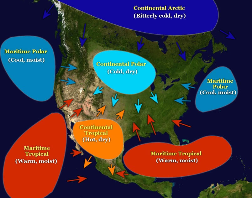 Air Masses Around Us By Jason Keum Per ThingLink - Air masses map of us
