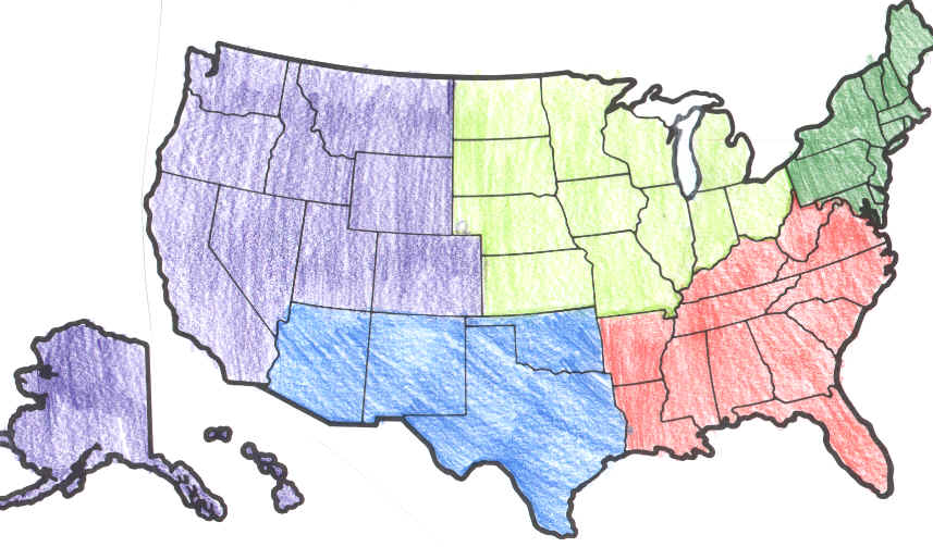 Regional Geography ThingLink - Map of us without states labeled