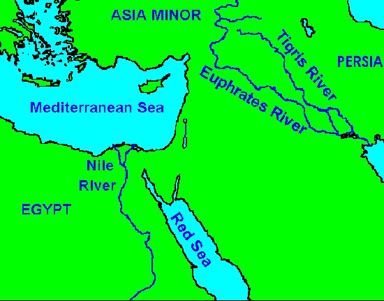 Map showing Tigris and Euphrates rivers
