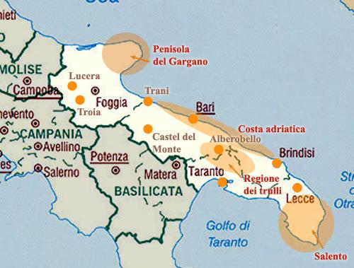 Cartina Puglia Alberobello.Itinerario Viaggio Puglia E Basilicata