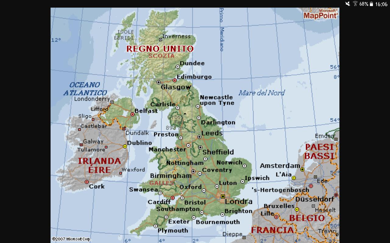 Cartina Fisica Regno Unito In Italiano.Cartina Del Regno Unito