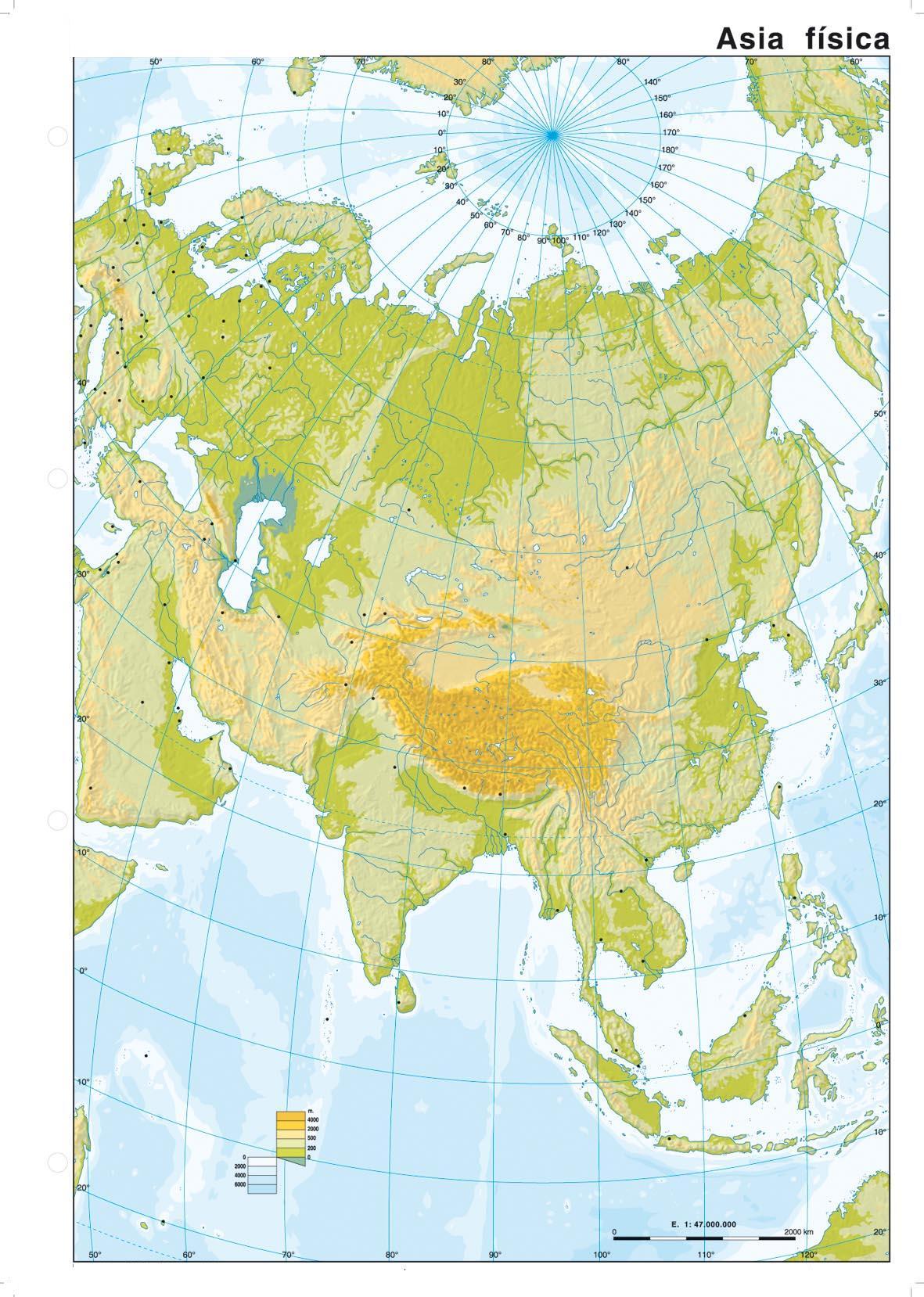 Rio Mekong Mapa Fisico.Montes Urales Meseta De Iran Montes Altai Montes Kuen