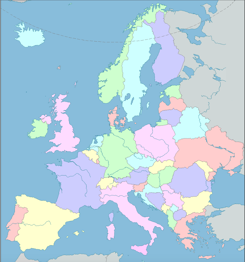 Map of Europe (labeled in French)