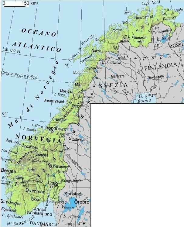 Cartina Stradale Norvegia.La Norvegia