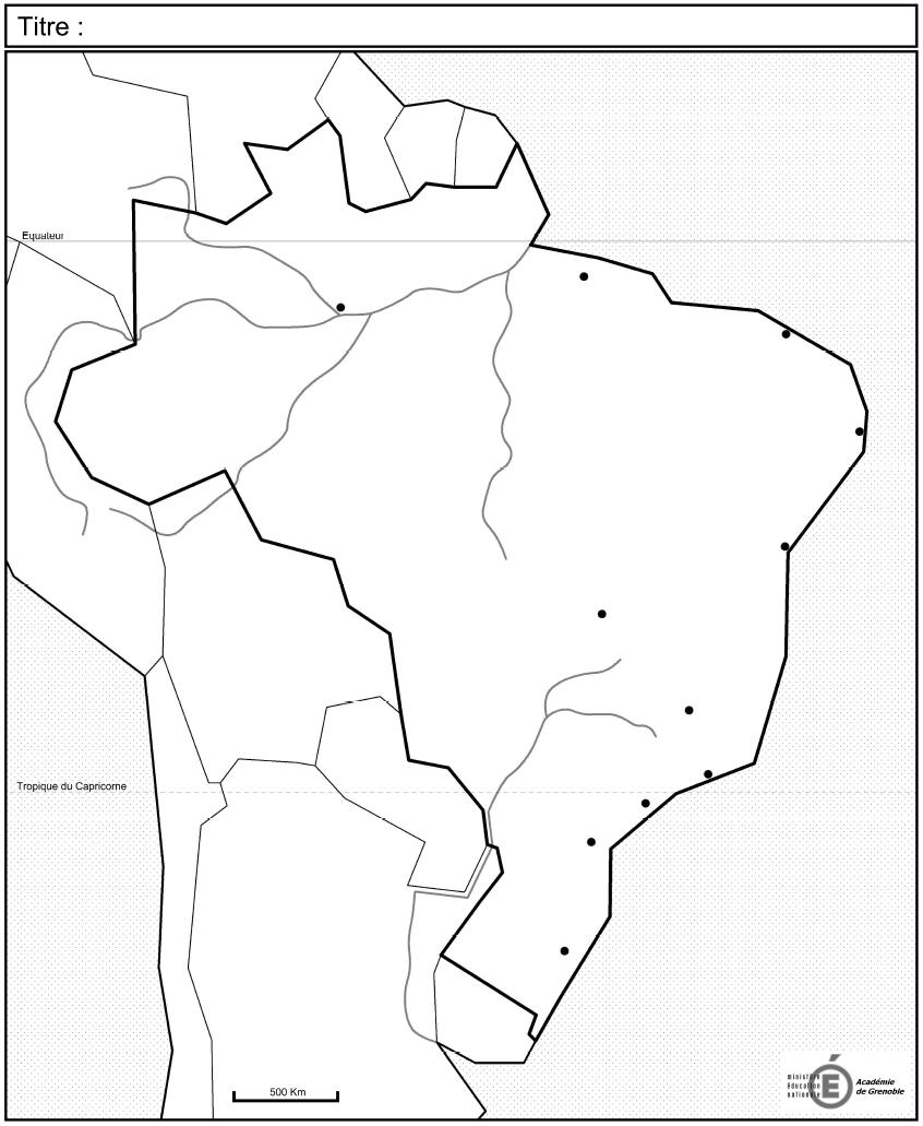 carte brésil vierge bac C5   Les dynamiques territoriales du Brésil
