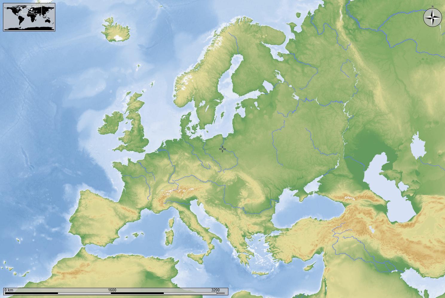 Cartina Muta Europa Centrale.Europa Fisica