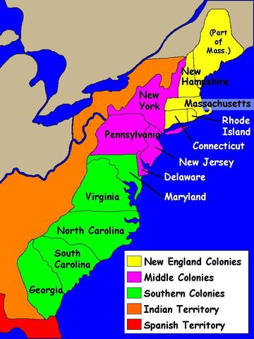 Map Of The 4 New England Colonies.13 Colonies Map