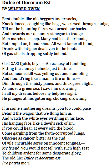 the imagery and negative view on war in dulce et decorum est pro patria mori by wilfred owen Dulce et decorum est (read here) is a poem written by wilfred owen during world war i, and published posthumously in 1920the latin title is taken from the roman poet horace and means it is sweet and honorable, followed by pro patria mori, which means to die for one's country.