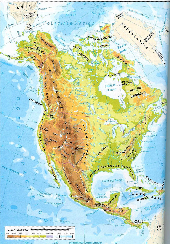 America Settentrionale Cartina.America Settentrionale