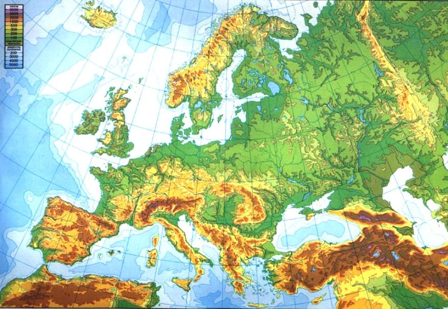 Mar Baltico Mapa Fisico.Mapa Fisico Europa