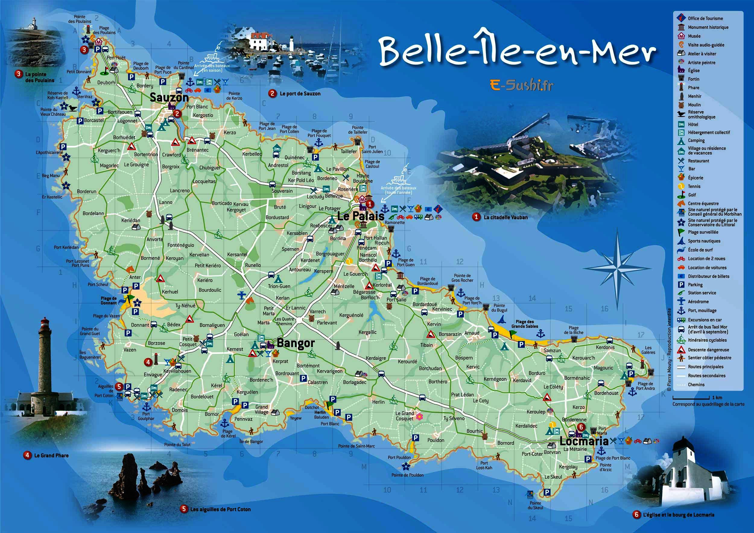 carte de belle ile carde voyage Belle île 5ème1 N°23