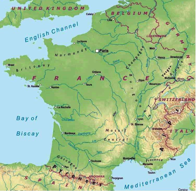 Cartina Fisica Francia Montagne.Francia