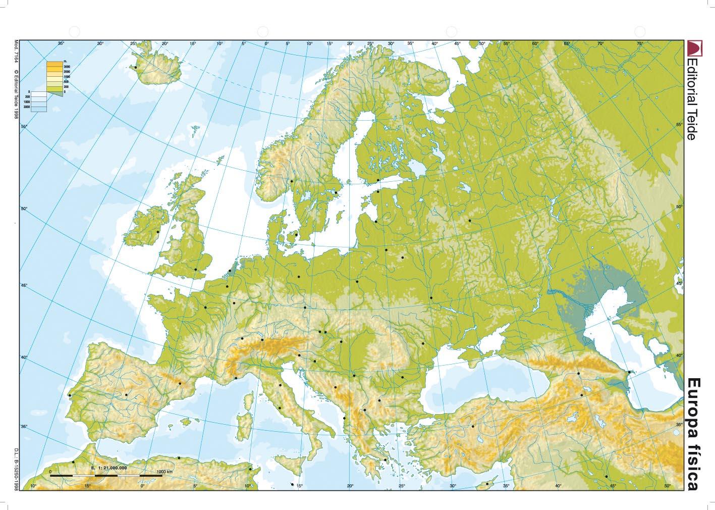Mapa Mudo Europa Físico.Mapa De Europa Fisico