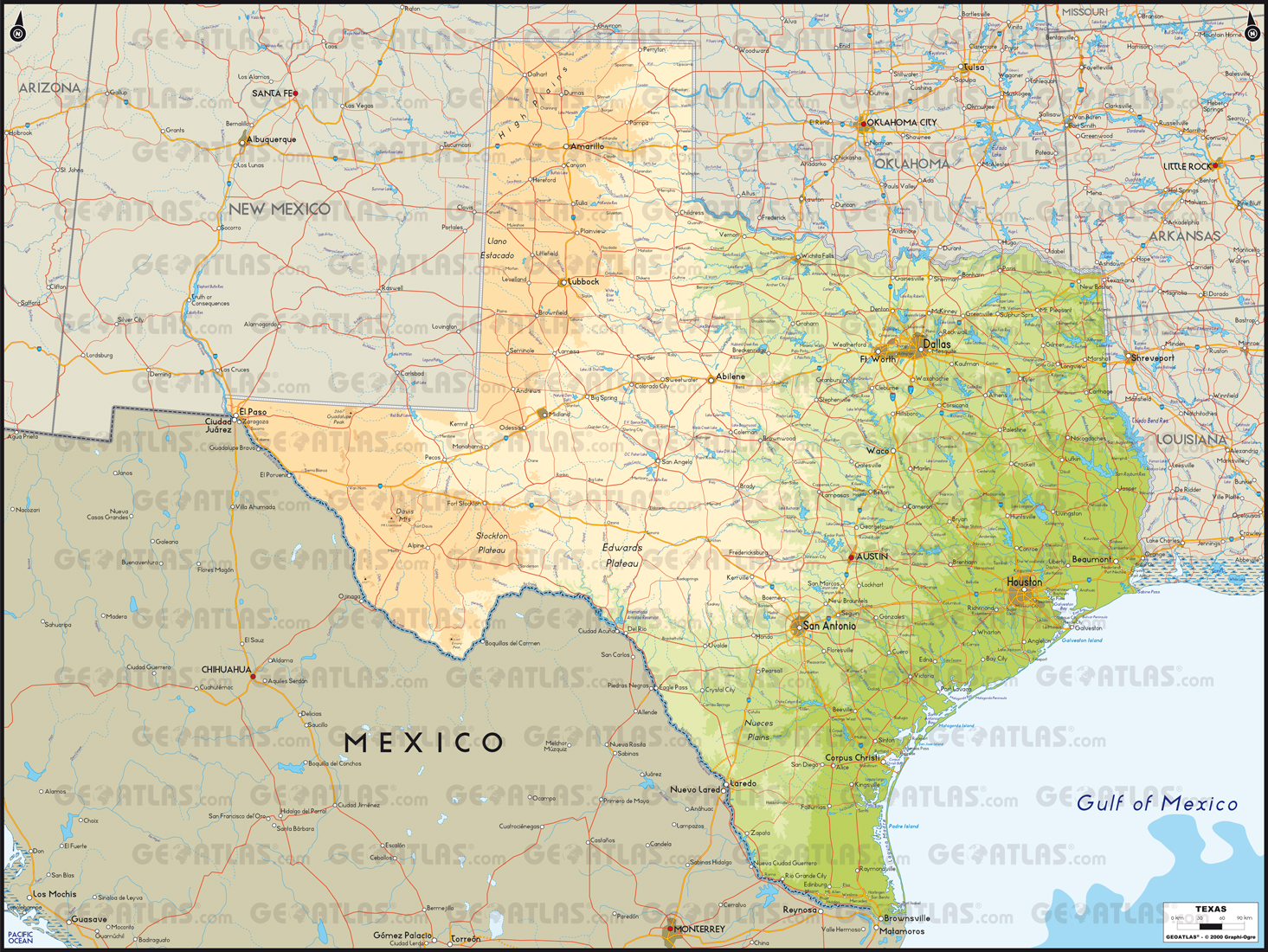 texas physical map thinglink