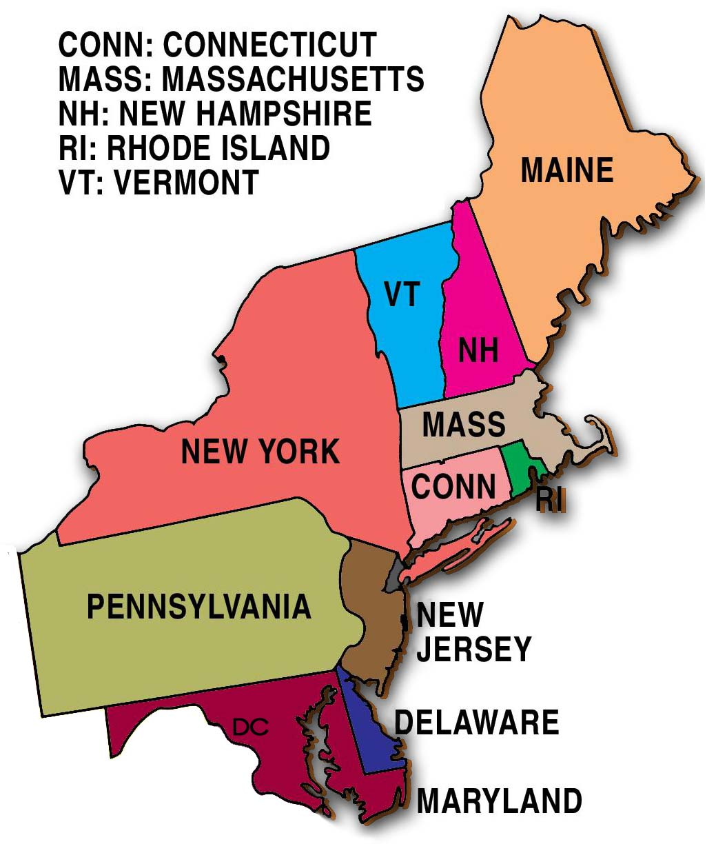 Map Of The Northeast Region My Blog - Map of northeast us with capitals