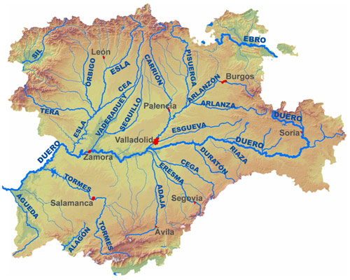 Mapa Fisico De Castilla Y Leon