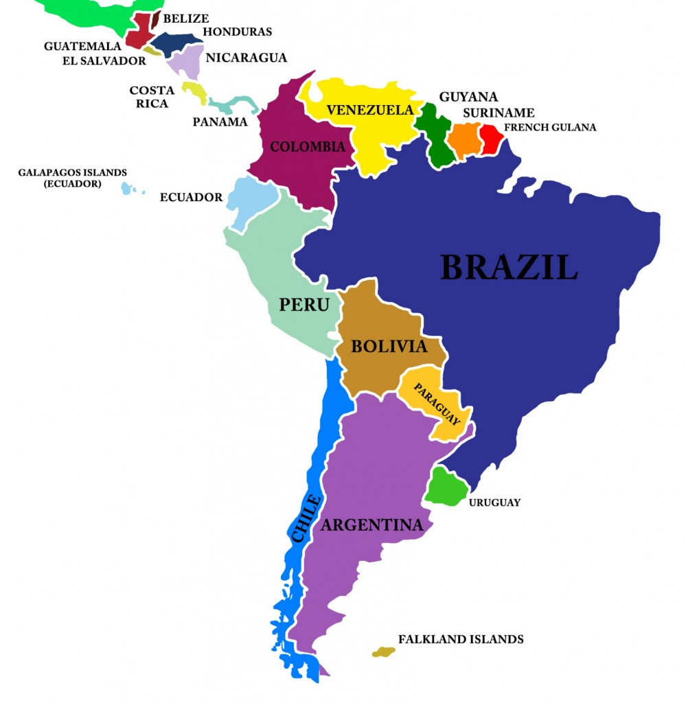 Map Central America And South America America Map