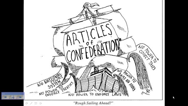 The boat represents the Articles of Confederation and how